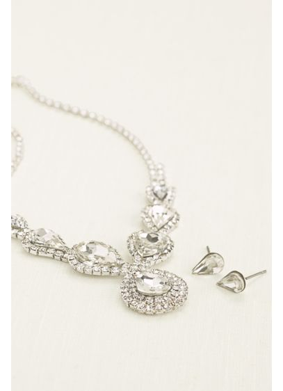 Pear and Pave Rhinestone Necklace and Earring Set - Wedding Accessories