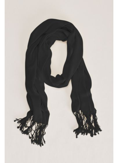 Sateen Pashmina with Fringe Accent - Wedding Accessories