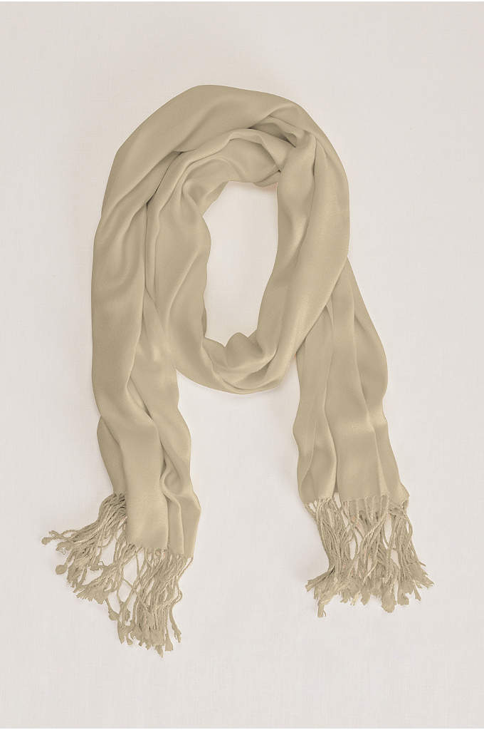 Sateen Pashmina with Fringe Accent - A pashmina is the perfect accessory for any