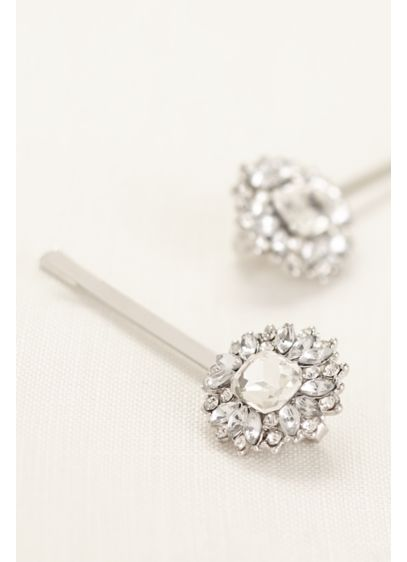 Set of 2 Emerald Cut Pave Hairpins - Wedding Accessories