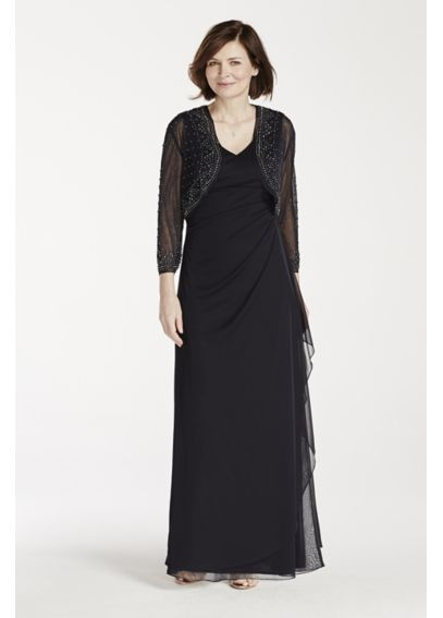 Long Mesh Dress with 3/4 Sleeve Beaded Jacket 13867