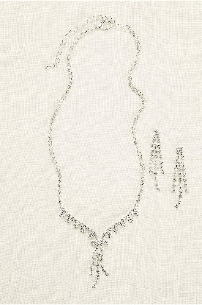 Rhinestone Tassel Necklace and Earring Set - Put on the glitz and glamour in this