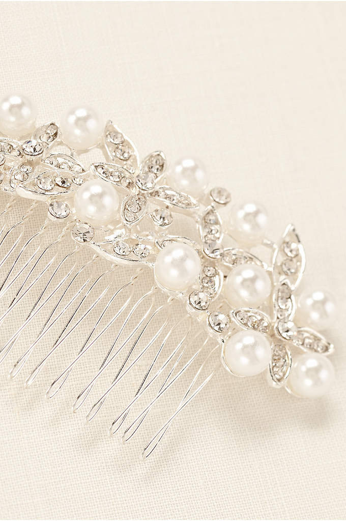Floral Motif Pearl Accent Comb - Accent your stylish do with this floral inspired