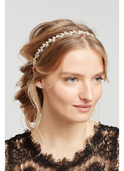 Leaf and Solitaire Stretch Headband - Wedding Accessories