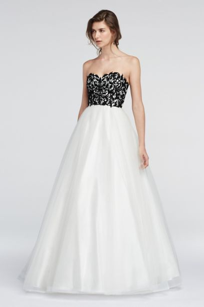 Strapless Lace Prom Dress with Ball Gown Skirt | David's Bridal