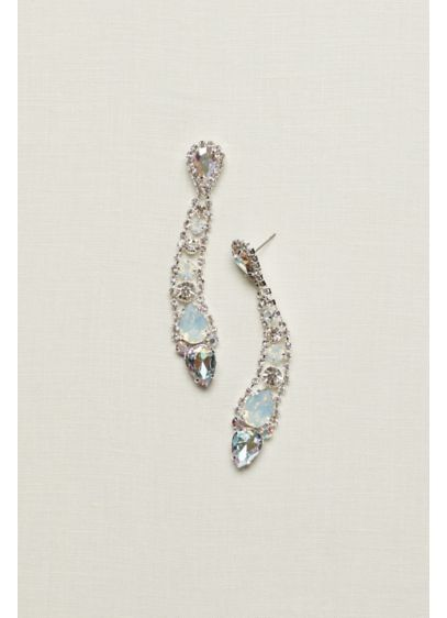 Long Large Stone Shoulder Duster Earrings - Wedding Accessories