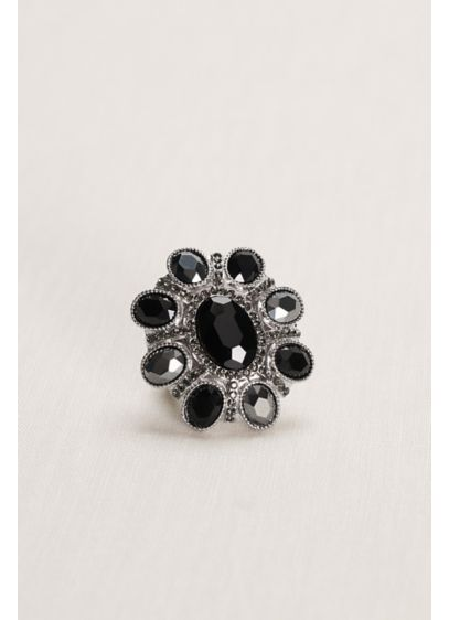 Black Floral Faceted Stretch Ring - Wedding Accessories