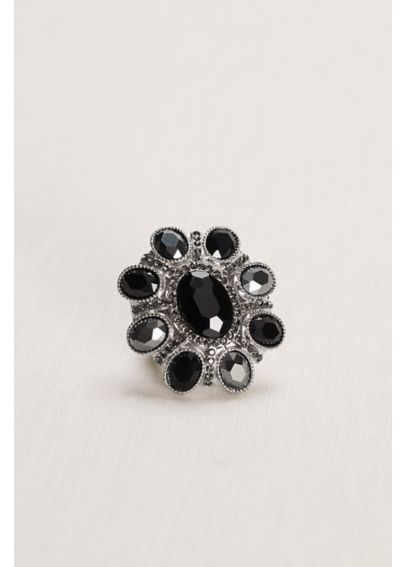 Black Floral Faceted Stretch Ring 1401617BLKS