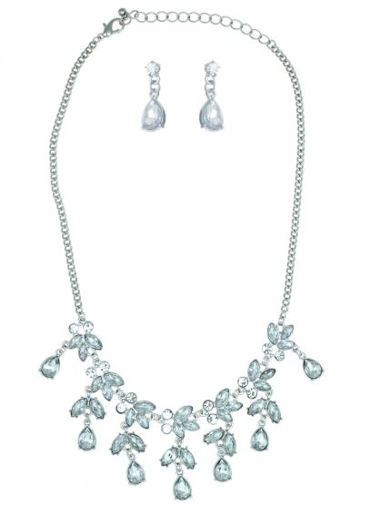 Clear Crystal Necklace and Earring Set 14046CRS
