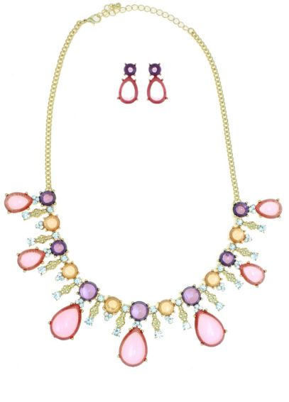 Multi Colored Stone Necklace and Earring Set 14083WHS