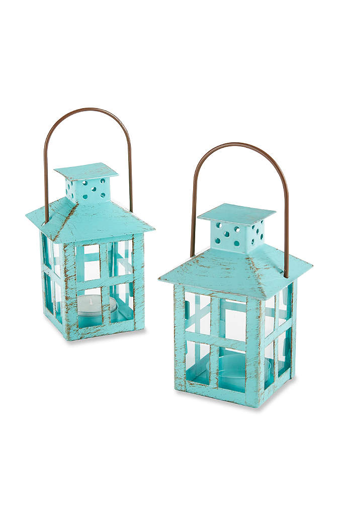 Vintage Blue Lantern Tea Light Holder - Perfectly charming and positively practical, the Vintage Blue