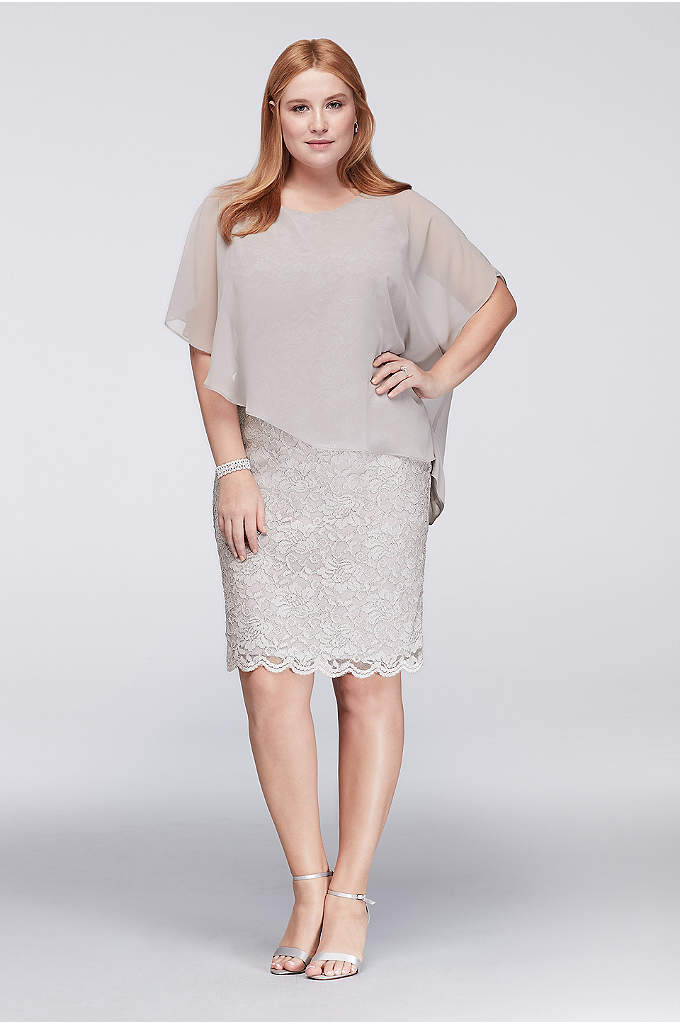 Glitter Lace Plus Size Sheath with Chiffon Capelet - This plus-size sheath dress silhouette shines in glitter