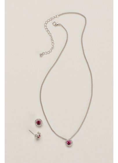 Circle Pave Necklace and Earring Set - Wedding Accessories