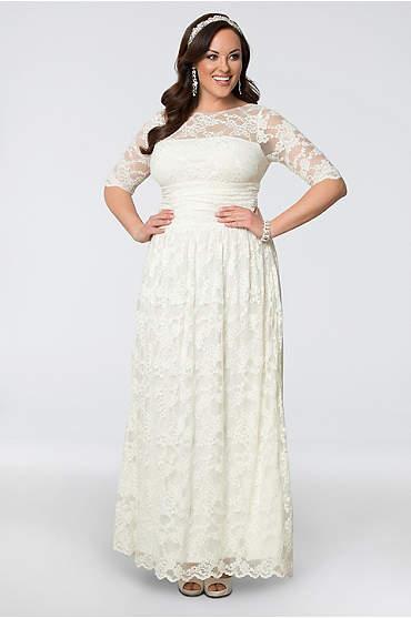 Lace Illusion Plus Size Wedding Gown