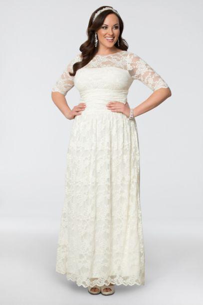 lace illusion plus size wedding gown | david's bridal