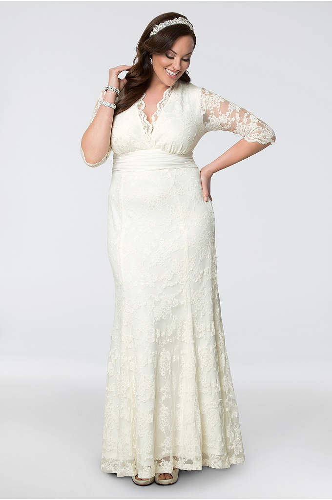 Plus size wedding dresses with sleeves david 39 s bridal for No lace wedding dress