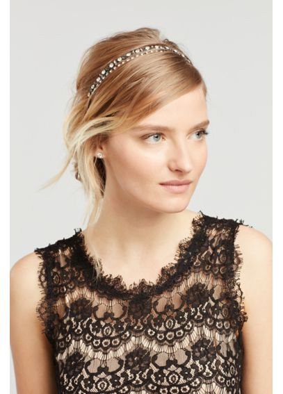 Crystal and Hematite Double Row Stretch Headband 141650HB