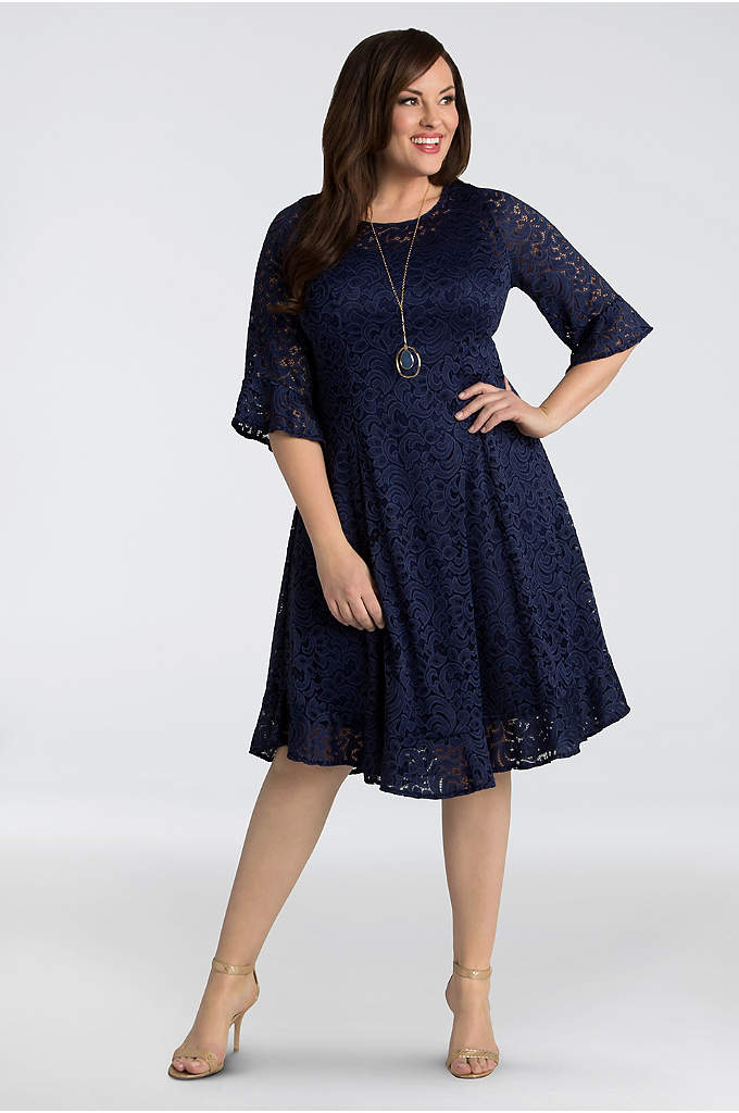 Livi Lace Plus Size Dress - Romantic lace and flounce details at the sleeves