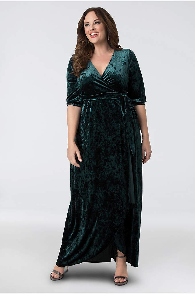 Cambria Velvet Plus Size Wrap Maxi Dress - This regal crushed velvet maxi dress features wrap