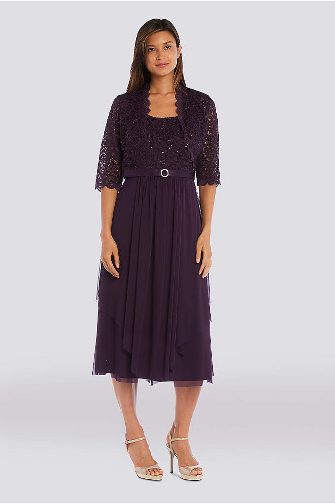 Sequin Lace and Mesh Jacket Dress with Satin - Sequined lace and a softly flowing chiffon skirt