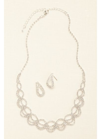 Open Work Crystal Necklace and Earring Set - Wedding Accessories