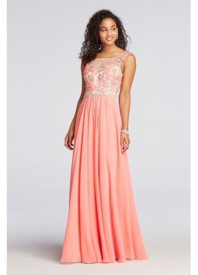 Cap Sleeve Chiffon and Lace Prom Dress  1423