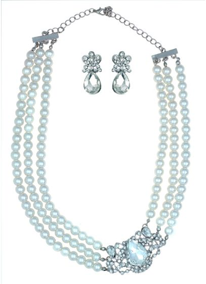 Three Row Pearl Necklace and Earring Set - Wedding Accessories