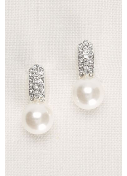 Pearl and Pave Crystal Earrings - Wedding Accessories