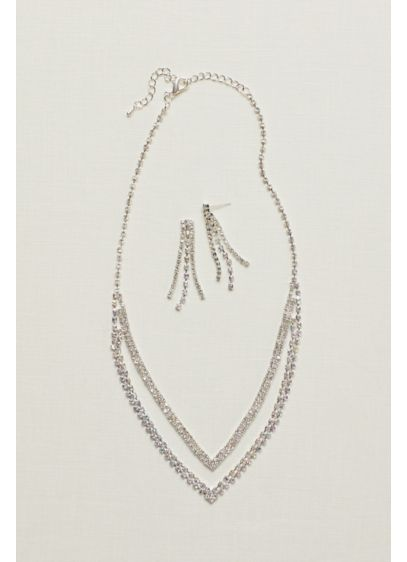 Layered V Neck Rhinestone Necklace and Earring Set - Wedding Accessories