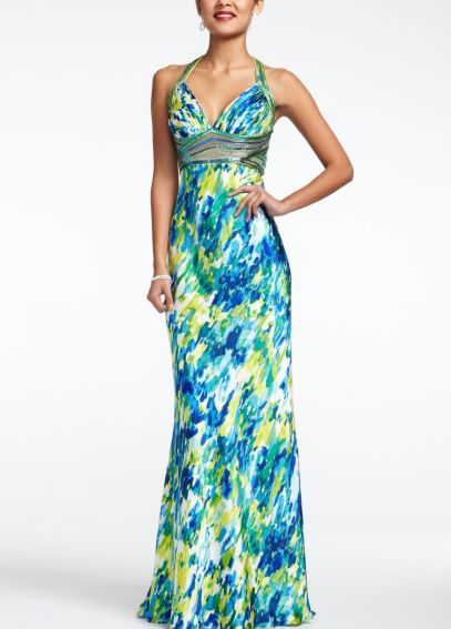 Long Charmeuse Halter Print Prom Dress 14457D