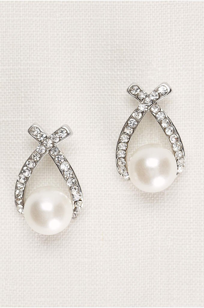 Crisscross Crystal and Pearl Earrings
