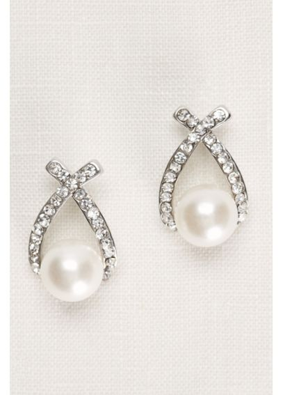 Crisscross Crystal and Pearl Earrings 144906EP