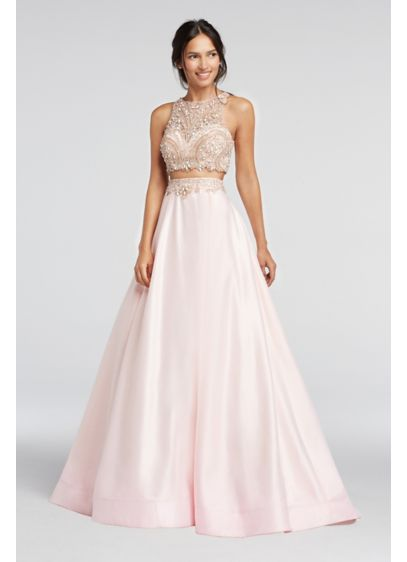 Long Ballgown Halter Quinceanera Dress - Colors