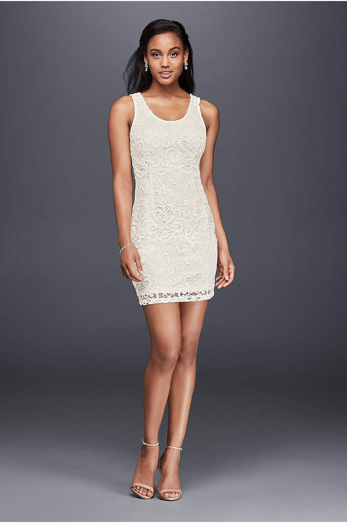 Sleeveless Scoop Neck Lace Shift Dress - The perfect little white dress for a bridal