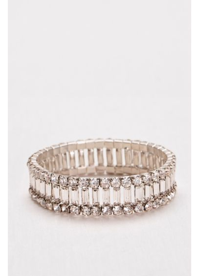 Baguette and Solitaire  Bracelet - Wedding Accessories