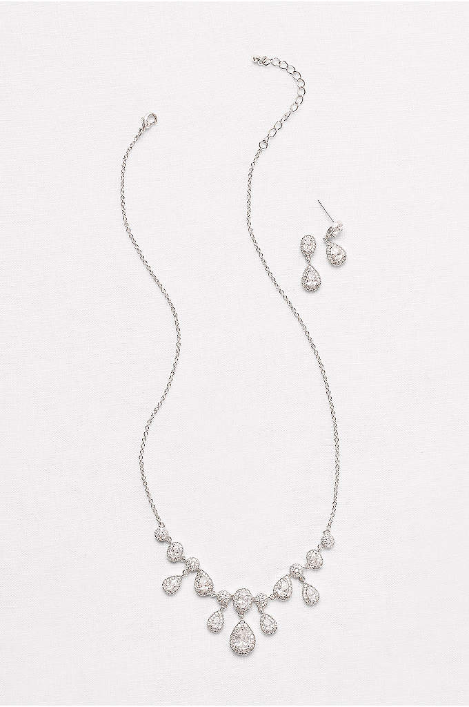 Pave Cubic Zirconia Pear Necklace and Earring Set - A row of pear-shaped cubic zirconia drops dangle