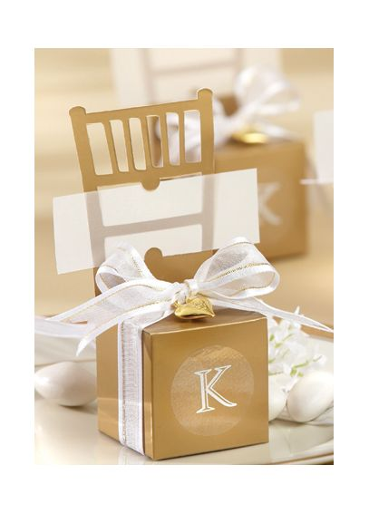 Personalized Miniature Gold Chair Box Set of 12 15008GD