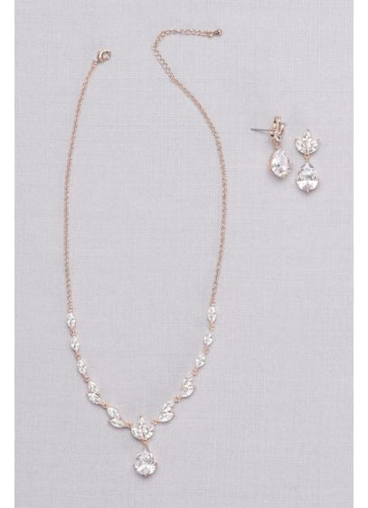 Leafy Cubic Zirconia Necklace and Earring Set - Wedding Accessories