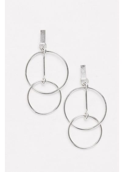 Double Ring Dangling Hoops Earrings - Wedding Accessories