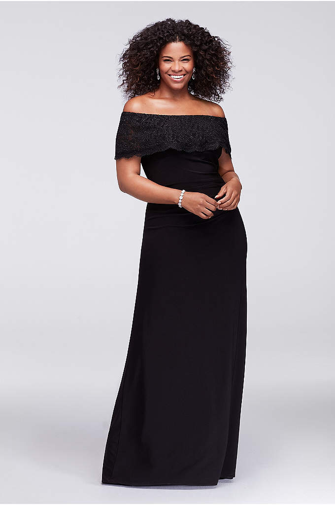 Glitter Lace Off-The-Shoulder Plus Size Gown - With side gathering and a ruched back seam