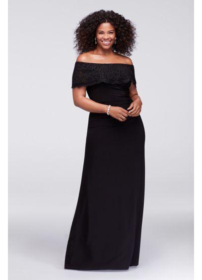 Glitter Lace Off-The-Shoulder Plus Size Gown | David\'s Bridal