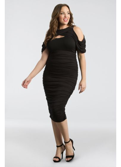 Short Sheath Off the Shoulder Cocktail and Party Dress - Kiyonna
