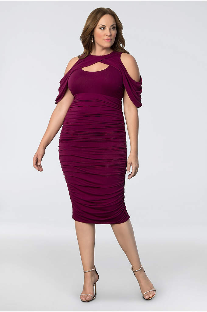 Bianca Ruched Plus Size Dress - Draped cold-shoulder sleeves make this curve-conscious ruched jersey