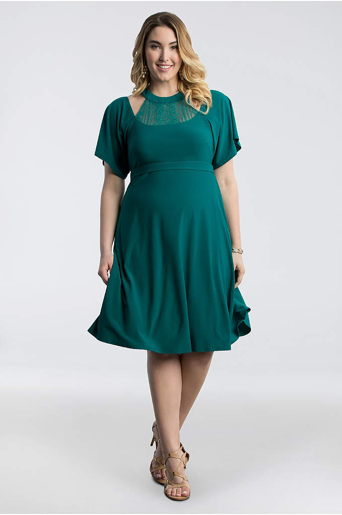 Elise Flutter Plus Size Dress - With soft flutter sleeves and a high metallic