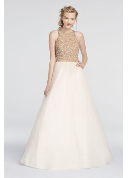Beaded High Neck Prom Dress with Ball Gown Skirt 151P0181G