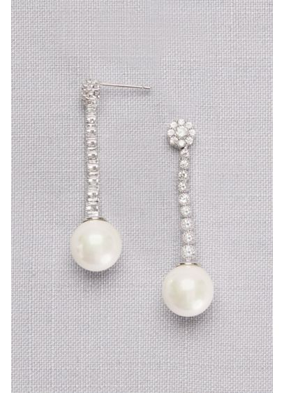 Graduated Cubic Zirconia Drop Earrings with Pearls - Wedding Accessories