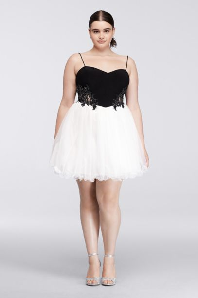 short plus size homecoming dress with ballet skirt   david's bridal
