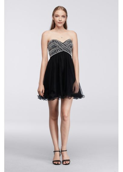 Short Strapless Homecoming Dress with Beading 155374