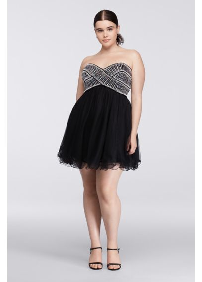 Short Plus Size Homecoming Dress with Beading 155374W