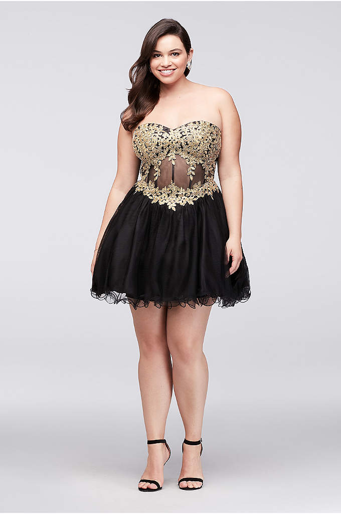 Embroidered Illusion Corset Plus Size Dress - This short mesh plus-size dress features richly embroidered